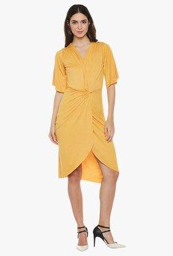 Athena Mustard Slim Fit Knee Length Knotted Waist Dress