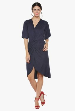 Athena Navy Slim Fit Knee Length Knotted Waist Dress