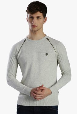 883 Police Light Grey Round Neck Slim Fit Sweater