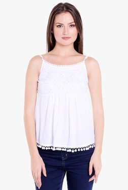 Globus White Embroidered Cotton Strappy Top