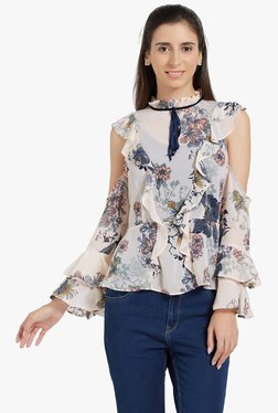 Globus Beige Floral Print Cold Shoulder Top