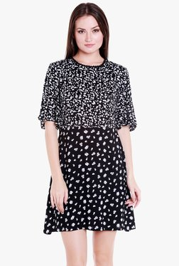 Globus Black Floral Print Above Knee Dress