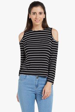 Globus Black Striped Cold Shoulder Top