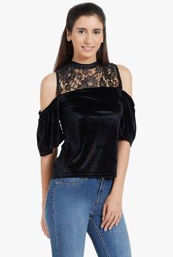Globus Black Lace Cold Shoulder Top
