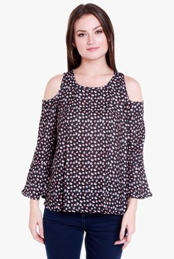 Globus Black Printed Cold Shoulder Top