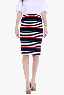 Globus Navy Striped Knee Length Pencil Skirt