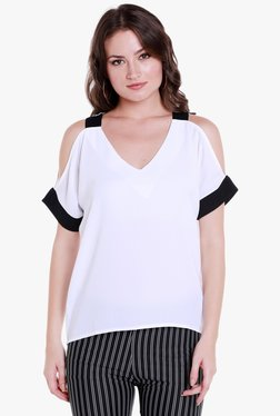 Globus White V Neck Cold Shoulder Top
