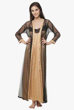 Clovia Beige & Black Printed Nighty With Robe