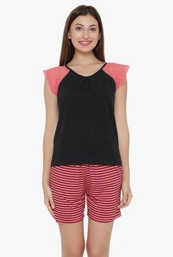 Clovia Black & Pink Lace Shorts Set
