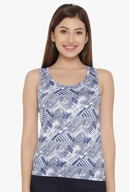 Clovia Blue Printed Tank Top