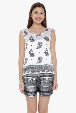 Clovia White & Black Printed Satin Shorts Set