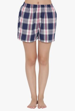 Clovia Navy Checks Cotton Polyblend Boxers