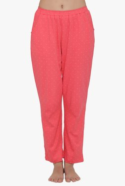 Clovia Coral Polka Dot Cotton Polyblend Pyjamas