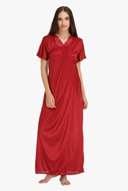 Clovia Maroon Lace Satin Nighty With Robe