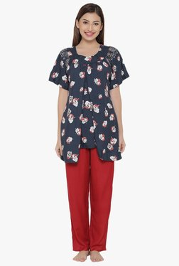 Clovia Navy & Red Floral Print Cotton Polyblend Pyjama Set