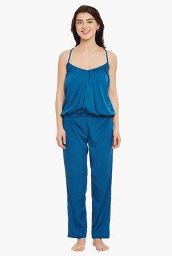Clovia Blue Crepe Pyjama Set