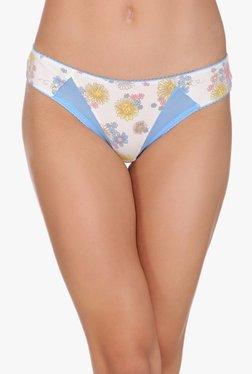 Clovia White & Blue Floral Print Low Waist Bikini Panty