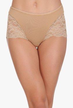 Clovia Beige Lace High Waist Hipster Panty
