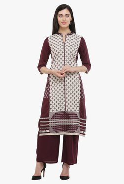 W Maroon Printed Cotton Straight Kurta