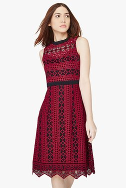 AND Burgundy Lace Knee-Length Dress