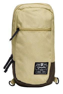 CAT Nata Cream & Brown Solid Polyester Cross Body Bag