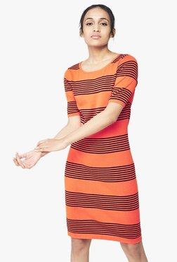 AND Orange Striped Knee-Length Dress