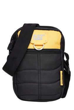 bc1c2bcc55 CAT Rodney Black   Yellow Stitched Polyester Sling Bag