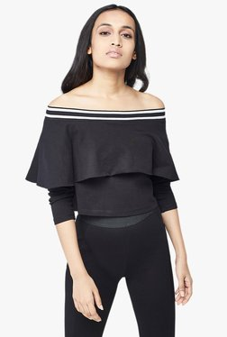 AND Black Off Shoulder Crop Top