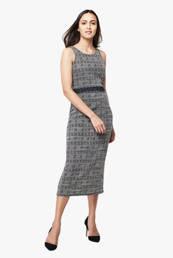 AND Grey Printed Midi Dress