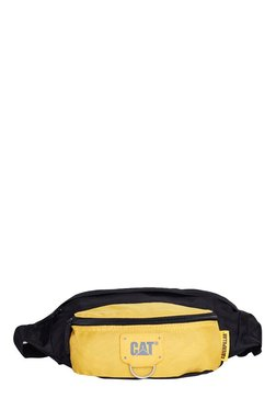 CAT Raymond Black & Yellow Solid Polyester Waist Pouch