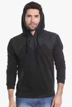 Campus Sutra Black Cotton Full Sleeves Sweatshirt