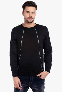 Campus Sutra Black Round Neck Regular Fit Sweatshirt