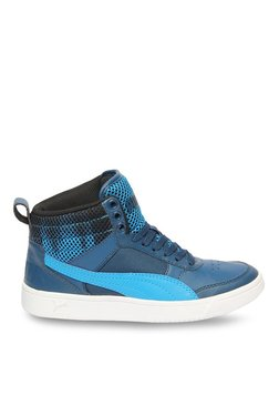 TATACLIQ. Puma Kids Rebound Street V2 Oxidized Jr Blue Ankle High Sneakers 322470ab9