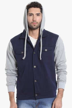 Campus Sutra Royal Blue & Grey Full Sleeves Hooded Jacket