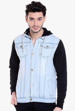 Campus Sutra Ice Blue & Black Cotton Jacket