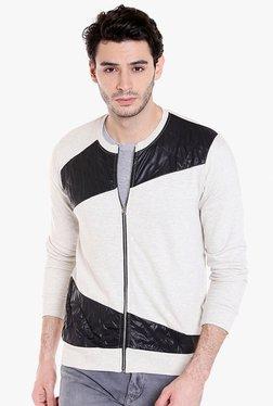 Campus Sutra Off-White & Black Cotton Jacket