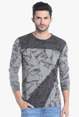 Campus Sutra Grey Round Neck Full Sleeves Printed T-Shirt