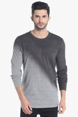 Campus Sutra Grey & Black Round Neck T-Shirt
