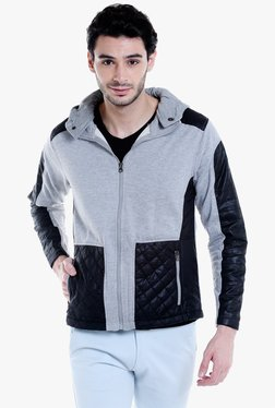 Campus Sutra Light Grey & Black Quilted Full Sleeves Jacket