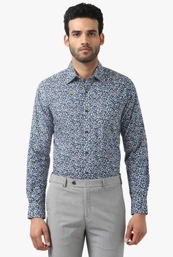 Raymond Blue Contemporary Fit Printed Cotton Shirt