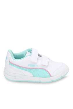 Puma Stepfleex FS SL V PS White & Aruba Green Velcro Shoes