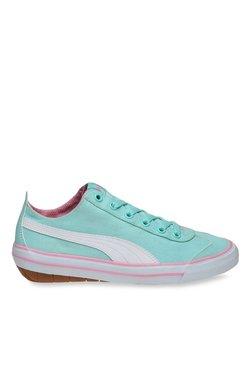 2d11bd9f6b2 TATACLIQ. Puma Kids 917 Fun Jr IDP Aruba Green   White Sneakers