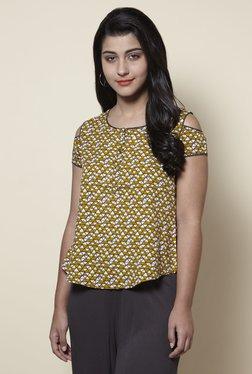 Zudio Yellow Printed Cold-shoulder Slim Fit Top