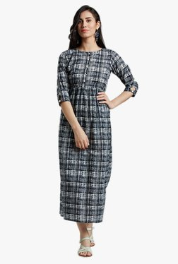 Jaipur Kurti Black Checks Midi Dress