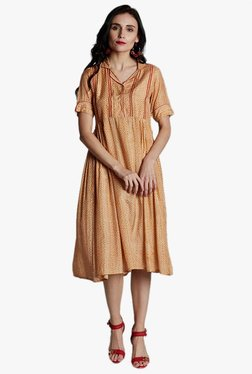 Jaipur Kurti Orange Printed Knee Length Dress