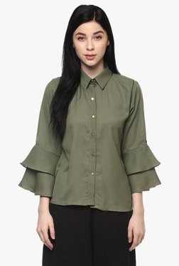 Pannkh Green Polyester Bell Sleeves Shirt