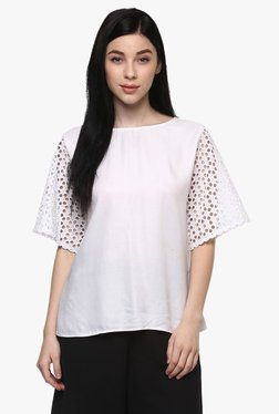 Pannkh White Cotton Flare Sleeves Top