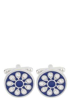 Raymond Blue Embellished Metal Cufflinks