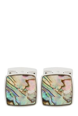 Raymond Green & Pink Printed Metal Cufflinks