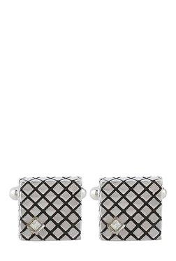 Raymond Silver & Black Engraved Metal Cufflinks